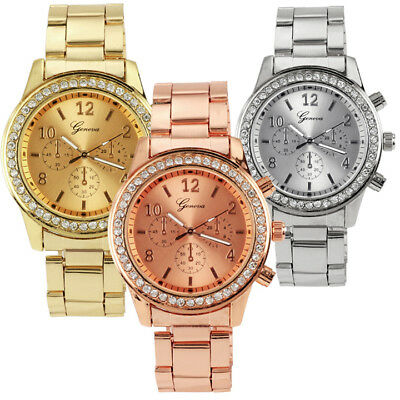 Men Casual Stainless Steel Band Quartz Analog Round Wrist Watch Fathers Day IS