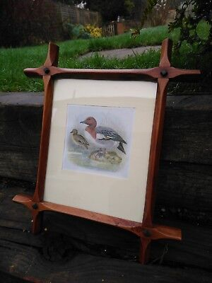 Vintage criss cross wooden frame + print, wigeon High quality original glass old