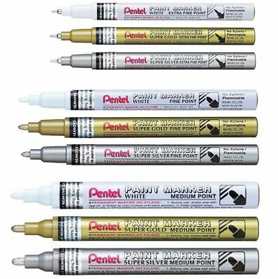 Pentel Permanent Paint Marker Pen - Extra Fine Fine Medium - White Gold Silver
