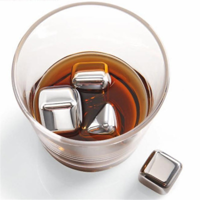Reusable Square Stainless Steel Ice Cubes Whiskey Cooler Beer Drink Chille Tool