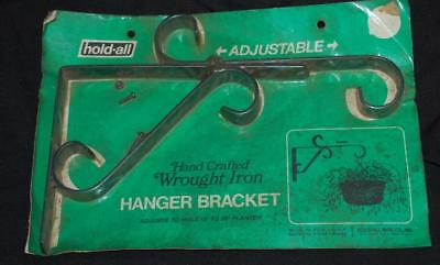 vtg black WROUGHT IRON planter basket flower HANGER BRACKET adjustable holder