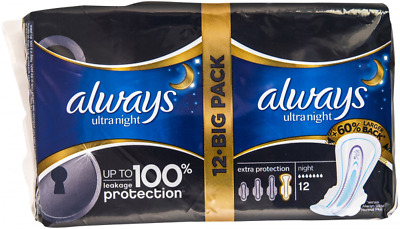 Always Ultra Night Extra Secure Protection Size 4 with double wings 12 napkins