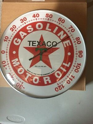 """Texaco Oil Co Star Thermometer 12"""" Round Licensed Glass Lens Aluminum Body"""