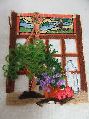 Finished Crewel Embroidery Sunset Jiffy Plant Window Completed 5x7