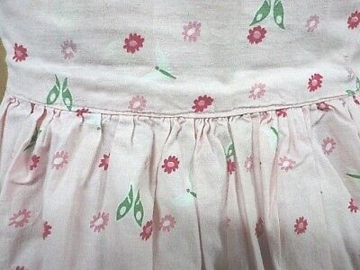Vintage Handmade Half Apron - Pink with Red Flowers - Rick Rack Pockets