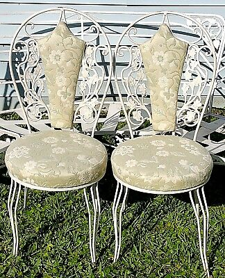2 Vtg Mid Cent Woodard Wrought Iron Upholstered Bistro Chair Shabby Cottage Chic
