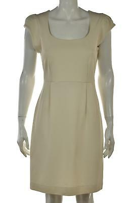French Connection Dress Size 4 Ivory Sheath Cotton Knee Length Cap Sleeve