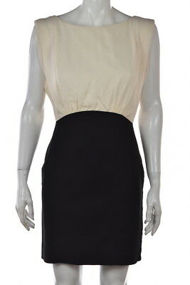 French Connection Womens Dress Size 6 Ivory Sheath Sleeveless Short Casual