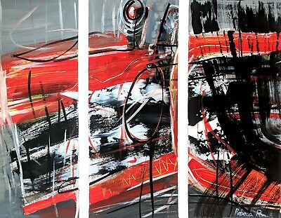 Original Abstract Modern Acrylic/Canvas Paper Colorful RED Wall DECOR Painting