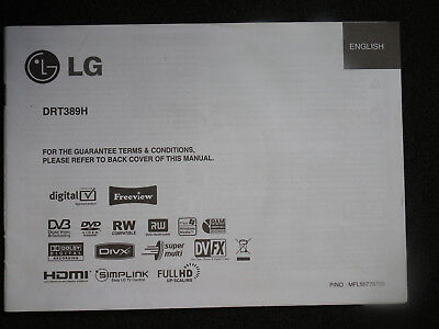 LG Owner`s Manual Guide Book for LG DRT389H digital TV DVD Recorder+freeview
