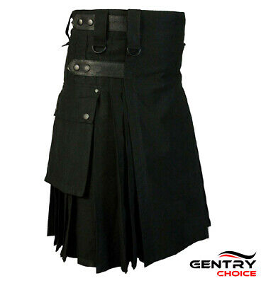 Scottish Modern Utility Kilt Black Highland Cargo Kilt