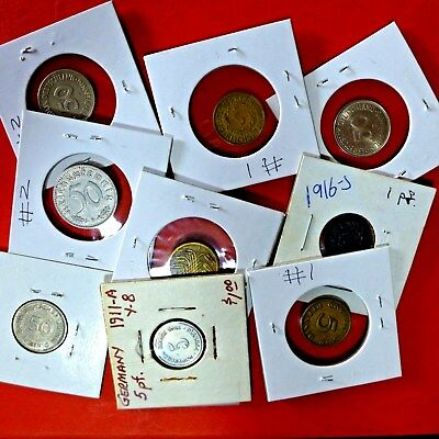 LOT of 9 COINS GERMANY  1911 - 1971