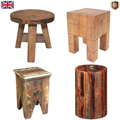 Vintage Retro Wooden Stools Seat Reclaimed Wood Small Home Furniture Durable Hot