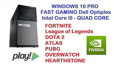 FAST GAMING DELL Core i5 PC Desktop HDMI nVidia Graphics PLAY FORTNITE Win 10