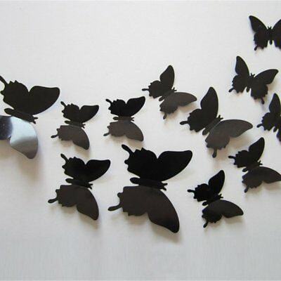 12pcs/lot 3D Wall Stickers Magnet Butterfly Fridge Magnet stickers Poster KQ