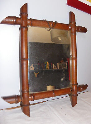 Ancien Miroir Bois Bambou Annees 30/40  Old Mirror Wood Bamboo Years 30/40