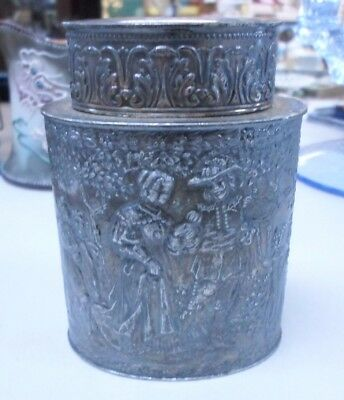 Antique Derby S.P. Co Internationals Canister Box Repousse