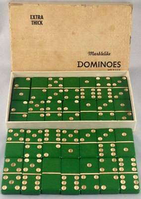 Vtg Puremco Marblelike Dominoes Green Extra Thick No 716 Made in USA Double Six
