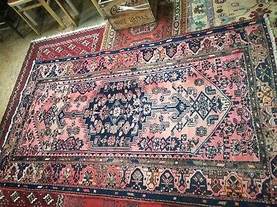 Large Antique middle eastern wool carpet vibrant hues & Geometrical patterns