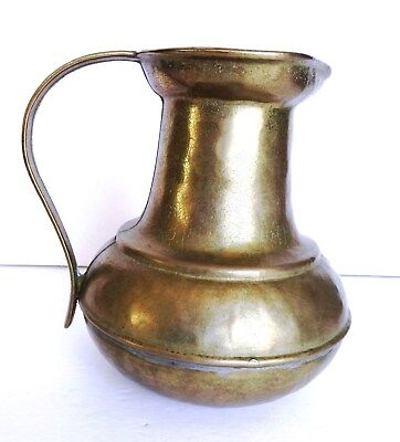 "Vintage Solid Brass Cast Metal 7"" Pitcher Soldered Bottom, Heavy - ships free"