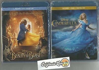 Cinderella + Beauty And The Beast Blu-Ray + Dvd Both Live Set✔☆Mint☆✔ No Digital