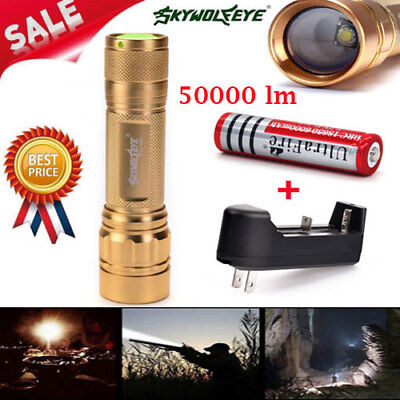 50000LM 3Modes T6 LED 18650 Zoomable Flashlight Torch Lamp Light Charger+Battery