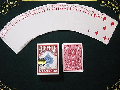 One Way Force Deck - Red Bicycle - 5 Of Diamonds - 52 Cards All The Same - New