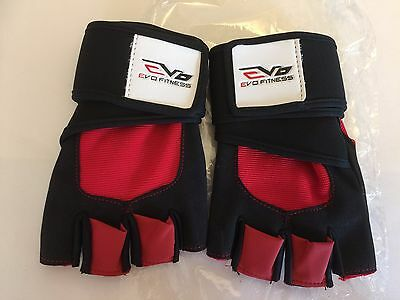 EVO Fitness Gym Gloves Weightlifting Cycling Neoprene Wrist Support wraps strap