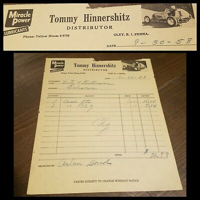 1958 TOMMY HINNERSHITZ MIRACLE POWER LUBRICANT Invoice Sprint Car vintage Ad Oil