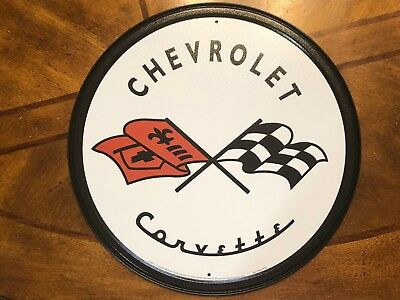 """Chevrolet Corvette Racing Flags 12"""" ROUND METAL WALL SIGN Garage Mancave GM"""