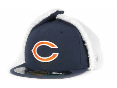 on sale 6d86a 3b806 Chicago Bears Navy Blue New Era NFL Dog Ear 59FIFTY Fitted Winter Hat Cap