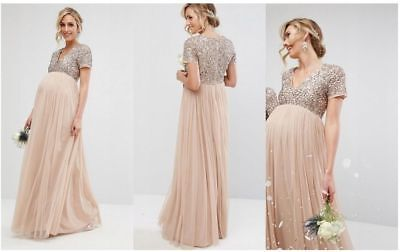 fc46b9e095273 Maya Maternity v neck maxi tulle dress with tonal delicate sequins UK 14  EUR 42
