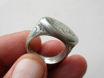 ancient solid late Roman silver carved ring