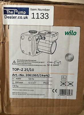 WILO TOP-Z 25/10 BRONZE DRINKING WATER CIRCULATION PUMP 2061965 400v #1133