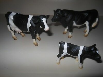 Lot of 3 Schleich Holstein Dairy Bull Cow & Calf Family Farm Cattle Figurines