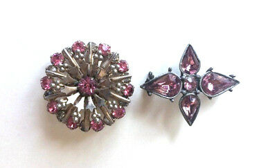 Vintage Crystal Rhinestone Pair Brooch Pin Costume Jewelry Pink Purple Starburst