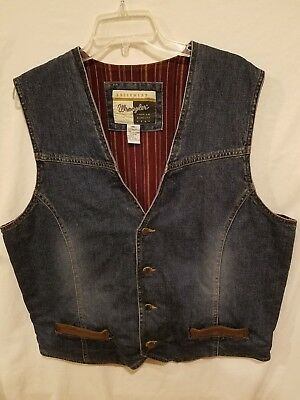 Wrangler Outerwear Denim Vest-Plaid Lined With Leather Highlights Men's XXL
