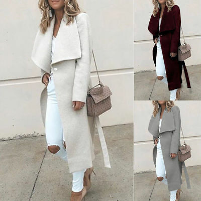 Women Long Sleeve Winter Warm Coat Lapel Trench Cardigan Parka Jacket Overcoat