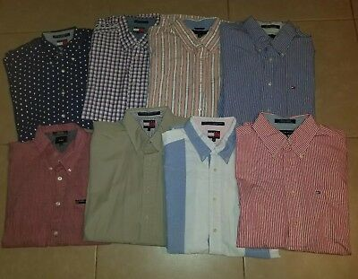 Lot of 8 Tommy Hilfiger Men's Casual Button Down Shirts Short Sleeve in size L