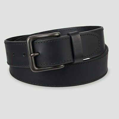 Men's Wide 35mm Leather Belt with Buckle - Black - 2XL 44-48