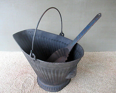 Antique Coal Scuttle Hod #17 Bucket Vintage Primitive Metal, BOSS Ash Shovel