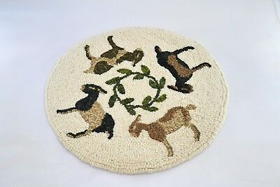 "12"" Round Wool on Linen Hooked Rug - ""Goat Go Round"" - Chair Pad - FINISHED"