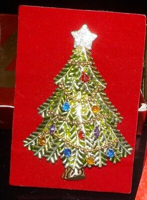 2008 Collectible Christmas Tree Pin Avon 5th Annual w/Rhinestone Garland NIB