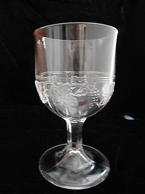 EAPG BRYCE WALKER GRAPE BAND (EARLY - 1869) THREE MOLD GOBLET WINE GLASS antique