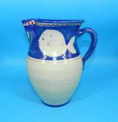 "SOLIMENE VIETRI CAMPAGNA BLUE FISH WATER PITCHER 8.75"" TALL HAND PAINTED 2.5 Qt."