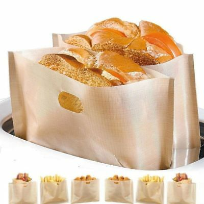 2pcs Toaster Bags Grilled Cheese Sandwiches Reusable Non-stick Bake Bread Bags