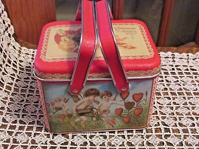 Valentine Covered Tin Box With Handle