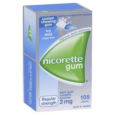 Nicorette Chewing Gum - 2Mg - 105 Pieces Regular Strength - Icy Mint Sugar Free