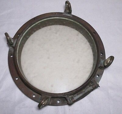 "Vintage Brass Ship's Porthole With 4 Dog Ears 16"" glass across Navy"