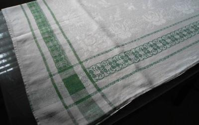 """Vintage Linen Damask Tablecloth Green Floral Stripe Lily of Valley 63"""""""